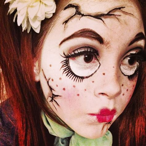 creepy broken doll hair makeup and costume tutorial creepy cracked doll makeup makeup crackeddoll
