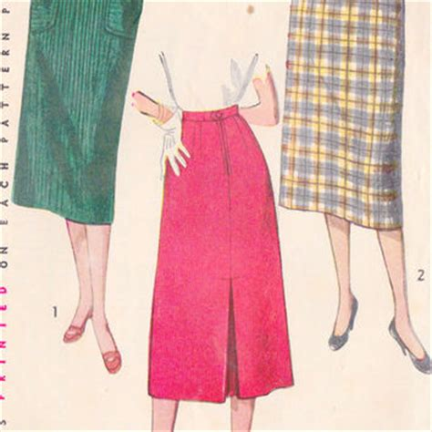 1950s simple to make skirt with back kick pleat vintage