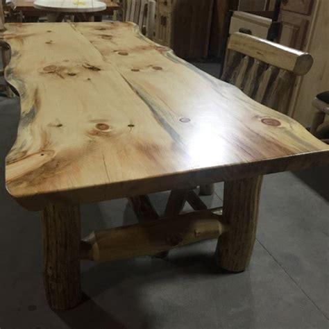 Rustic Pine Slab Massive Log Dining Table with Bench Set Diy Magazine Racks