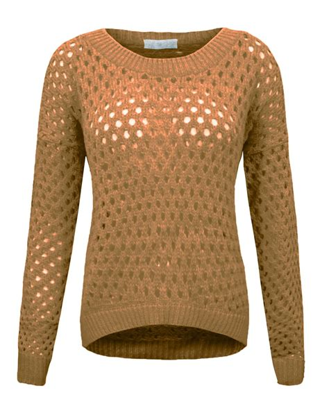 Knitting Pattern Holey Jumper   ladies womens holey knit jumper stretch sweater crew neck