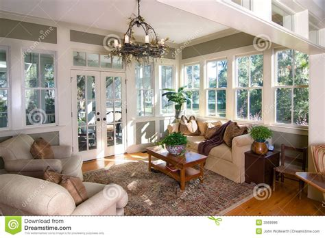 Furnished sunroom stock photo. Image of room, sunroom