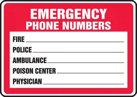 Emergency Contact Detox Facility by Emergency Phone Numbers Safety Sign Mfsd400