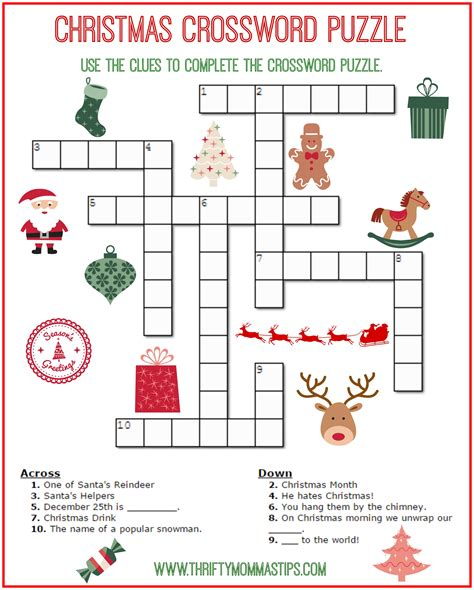 Free Printable Christmas Word Games Puzzles | christmas crossword puzzle printable thrifty momma s tips