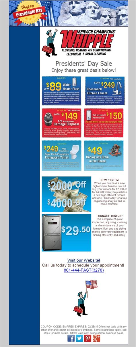 Whipple Plumbing And Heating by More Presidents Day Sales Whipple Service Chions
