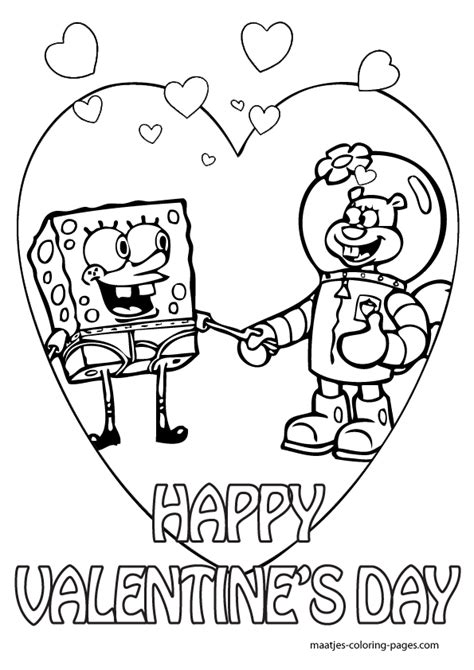 valentine s day coloring pages spongebob valentines day