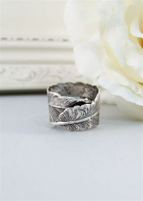 silver feather ring silver flower iris ring antique