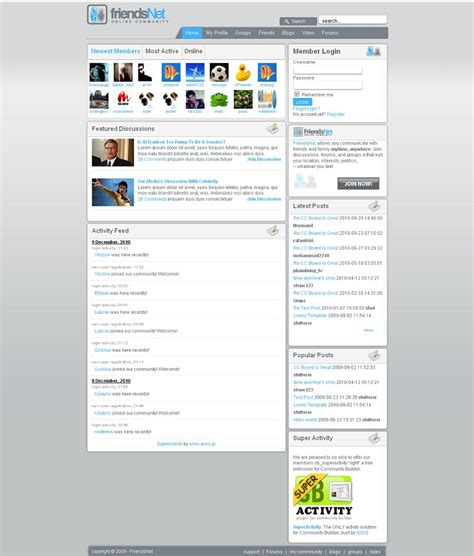 social networking templates php free friendsnet premium joomla template for social network
