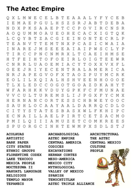 Aztec Worksheets the aztec empire word search by sfy773 teaching