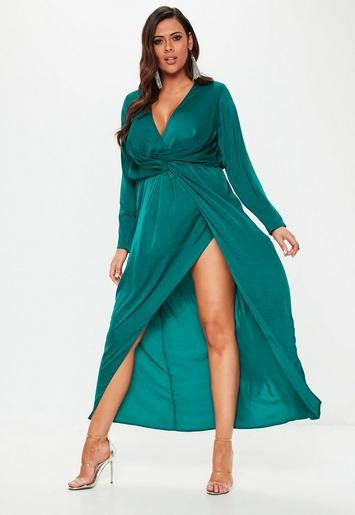 size teal wrap knot front maxi dress missguided