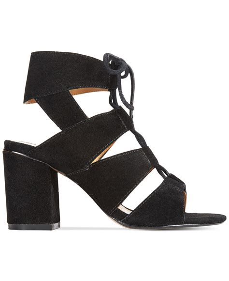 report edolie block heel lace up sandals in black lyst