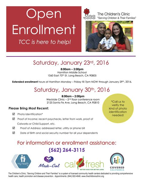 The Childrens Clinic Open Enrollment 2016 Eng 401k Open Enrollment Announcement Template