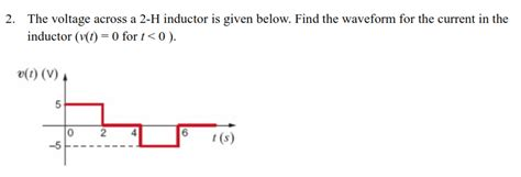 inductor given voltage the voltage across a 2 h inductor is given below chegg