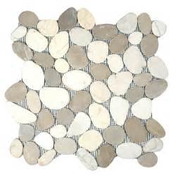 sliced java tan and white pebble tile pebble tile shop