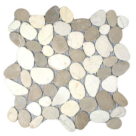 sliced java tan and white pebble tile pebble tile shop