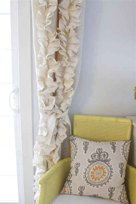 make burlap curtains remodelaholic how to sew ruffled burlap curtains