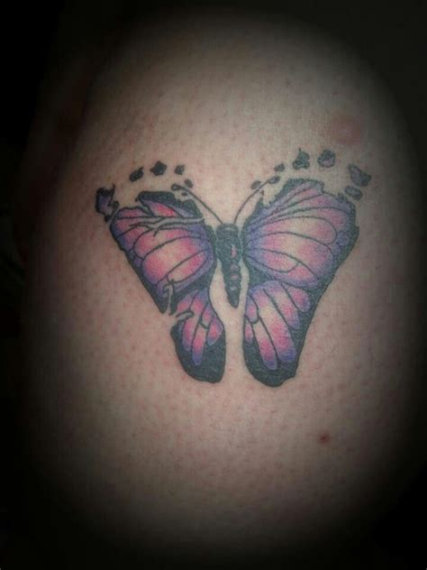 baby footprint butterfly tattoo idea been trying out ideas for one for names