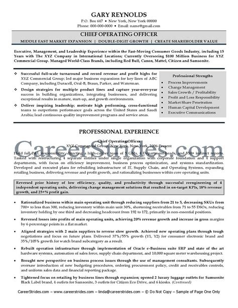 Coo Resume Templates coo resume chief operating officer resume sle