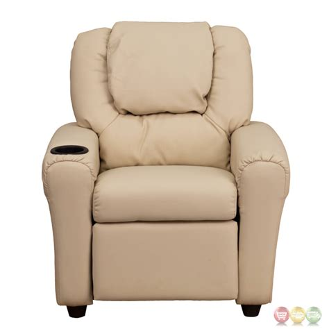 childs recliner with cup holder contemporary beige vinyl kids recliner with cup holder and