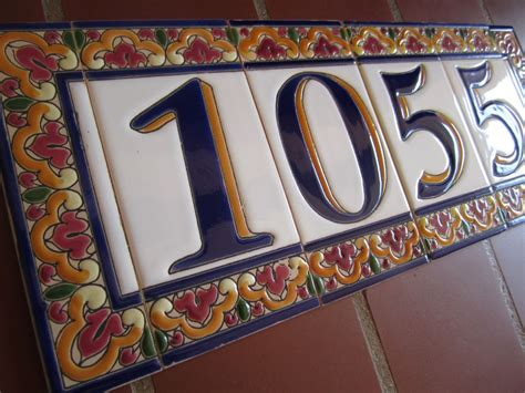 mission style house number tiles on your revival