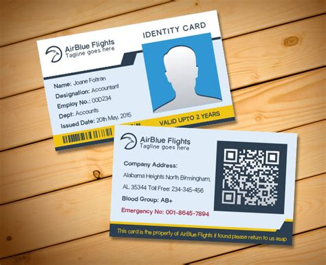 work id card template free 2 free company employee identity card design templates