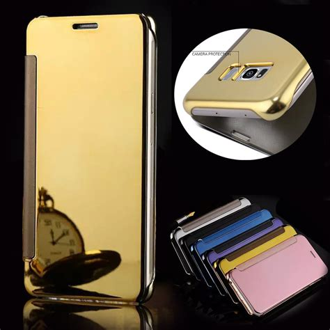 Casing Hp Samsung Galaxy S6 S7 Flip Mirror Transparan 1 lovecom clear view mirror screen flip wallet for samsung galaxy s6 s7 edge s8 s9 plus