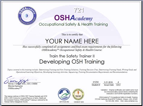 Education Certificate Occupational Education Certificate Osha Hearing Conservation Program Template
