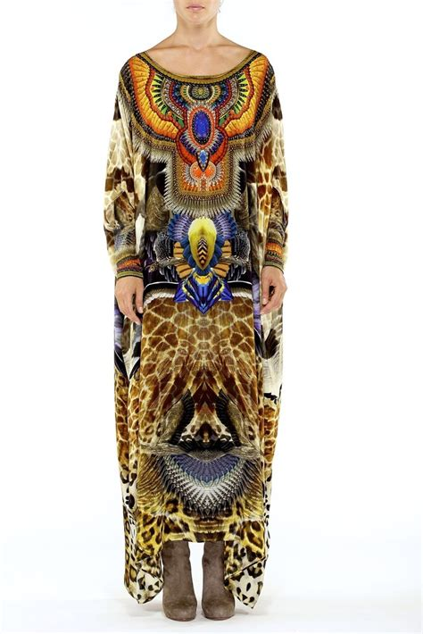 Kaftan Premium Swarovski 4 new camilla franks silk huntress neck swarovski kaftan dress osfm ebay camilla franks