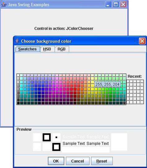 tutorialspoint swing swing jcolorchooser class