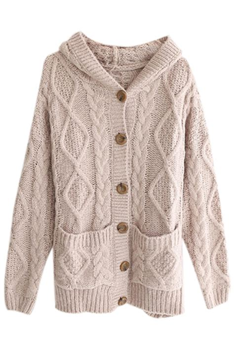 hooded cable knit cardigan romwe hooded pocketed cable knit light coffee cardigan