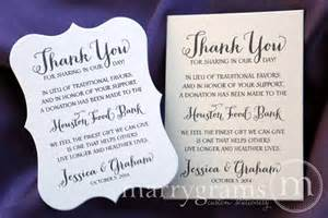 in lieu of favors wedding favor donation cards reception