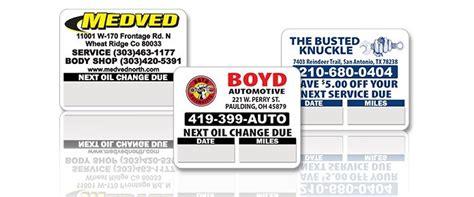 custom oil change stickers pricing oil change sticker com