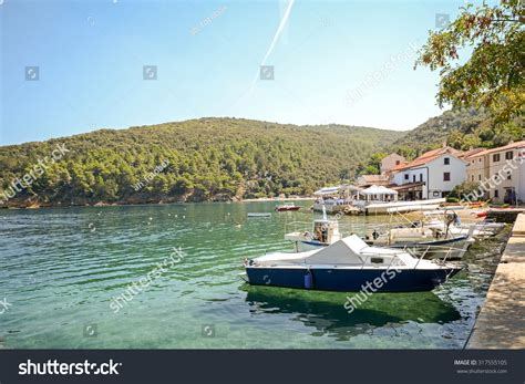 village jetty stock photo image 64063688 cres island croatia view to the village valun with jetty