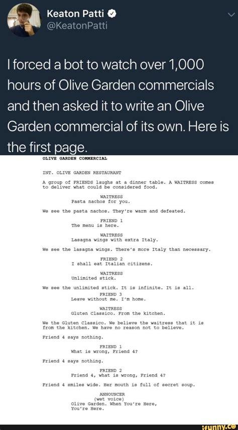 olive garden bot bot generated olive garden commercial laughter random memes and humor
