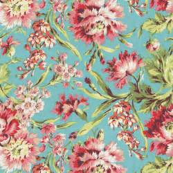 Large Floral Upholstery Fabric Coral And Teal Floral Fabric By The Yard Coral Fabric