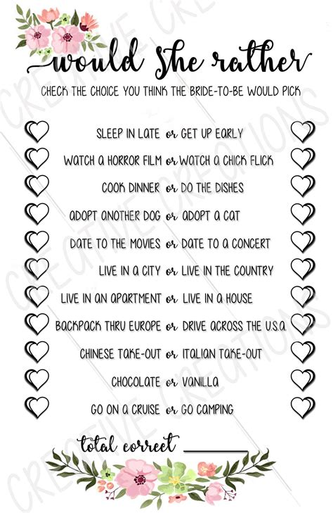 Bridal Shower Game Ideas Resume Simple Templates Would They Rather Bridal Shower Template