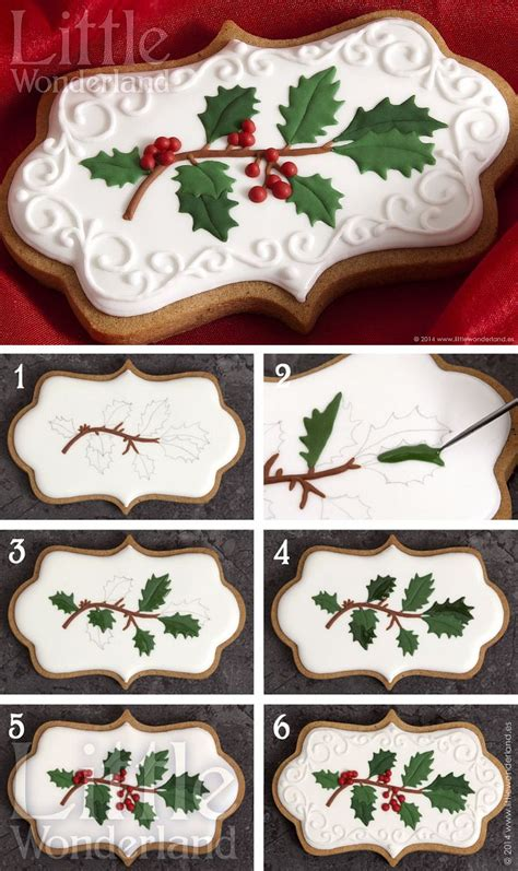 christmas cookies gingerbread cut outs with holly sprig