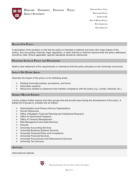 financial policies and procedures template financial policy impact statement template