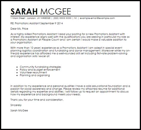 Cover Letter For Promotion by Promotions Assistant Cover Letter Sle Livecareer