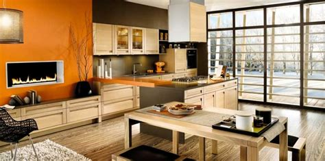 Kitchen And Living Room Side By Side Mobalpa Orange Kitchen On Side Living Room Interior