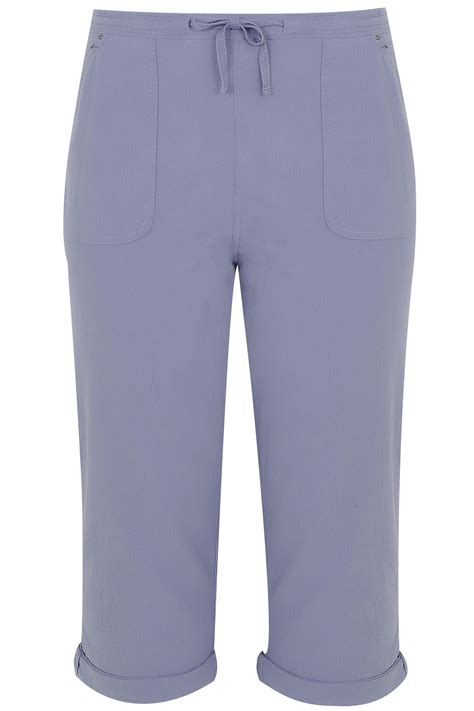 light home care address light blue cool cotton cropped trousers plus size 16 to 36