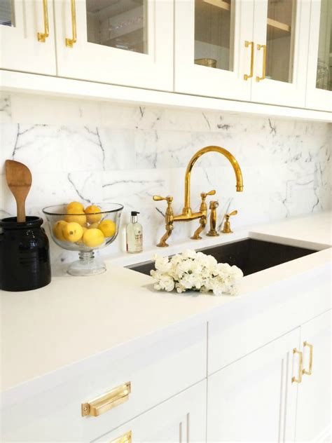 Bridge Style Kitchen Faucets swooning over white kitchens with gold hardware