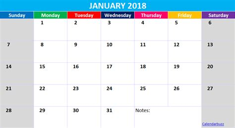 January 2018 Calendar Template Excel Xls Spreadsheet Free Download Calendarbuzz 2018 Calendar Template Excel