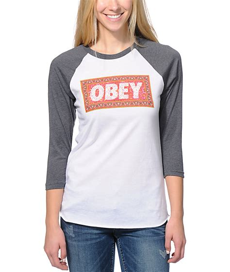 Obey Rug by Obey Magic Carpet White Charcoal Baseball T Shirt At Zumiez Pdp
