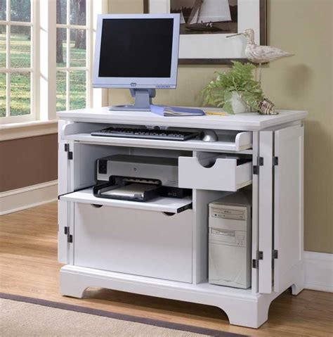 awesome small white computer desk with slider keyboard