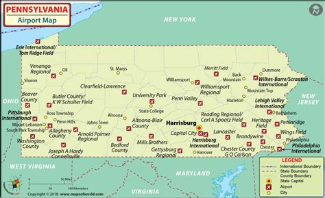 pennsylvania on map of usa airports in pennsylvania pennsylvania airports map