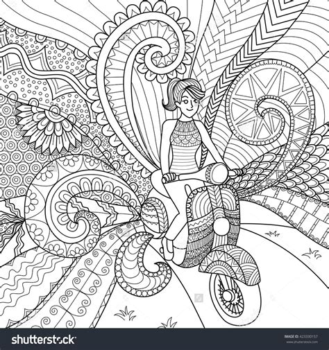 doodle coloring book driving scooter clean lines doodle design for