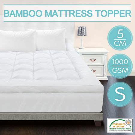 Single Size Mattress Topper Single Size Mattress Topper Protector Underlay Pad 1000gsm Bamboo Fiber 5cm Thick Sales