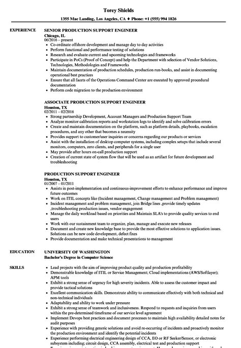 production support engineer resume sles velvet