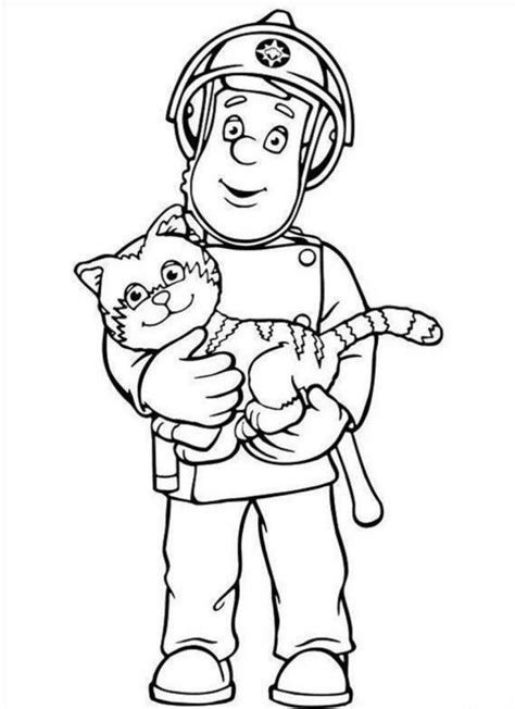 coloring pages of sam and cat fireman sam coloring page coloring home