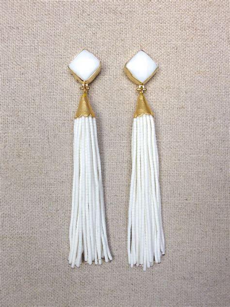 white stud beaded tassel earrings accessories